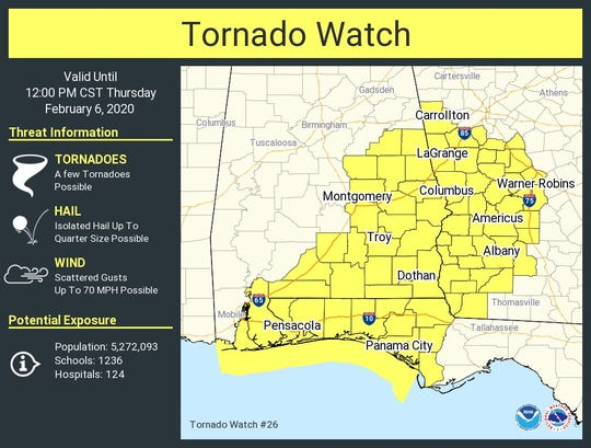 Much of North Florida is under a tornado watch as severe storms threaten.