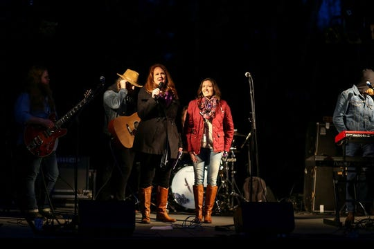 """Stacy Hartmann and Katie Pernell thanking the crowd before The Vegabonds take the stage at last year's event. """"It was pretty incredible looking out at all the people and seeing familiar faces and friends,"""" says Pernell."""