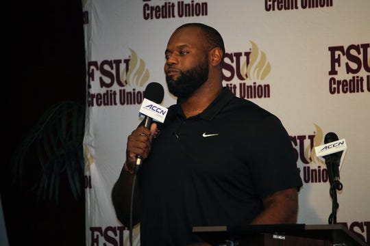 FSU offensive line coach Alex Atkins at the FSU National Signing Day Party on Feb. 5, 2020.