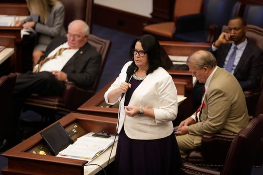 Sen. Kelly Stargel gives her closing statements after debate over her bill SB 404, requiring parental consent for abortion for minors, at the Florida Capitol Thursday, Feb. 6, 2020. The bill passed the Senate 23-17 along party lines.