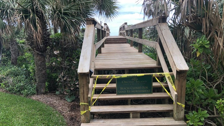 """Beaches in Orchid took a hit from Hurricane Dorian and then another one-two punch from """"king tides"""" and a storm in January. The repair cost now is more than $443,000."""