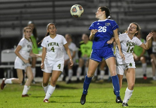 Emilee Moberg of Martin Co. heads the ball during Wednesday's Class 6A District 12 girls soccer semifinal against Viera.
