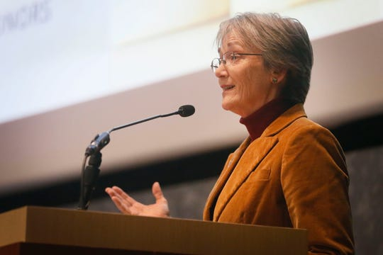 UTEP President Heather Wilson announces a new scholarship, the Hawkins Scholarship, available to students in any field of study Wednesday, Feb. 5, at the UTEP Undergraduate Learning Center in El Paso. The application deadline for the Hawkins Scholarship is Oct. 5, 2020.