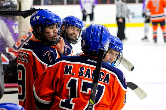 UTEP's Matt Sanca and Fabrian Perez get ready to enter a UTEP Miners hockey game