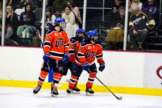 UTEP hockey players (from left) Jorge Duenas, Jon Sanca and Matt Sanca take the ice for a shift
