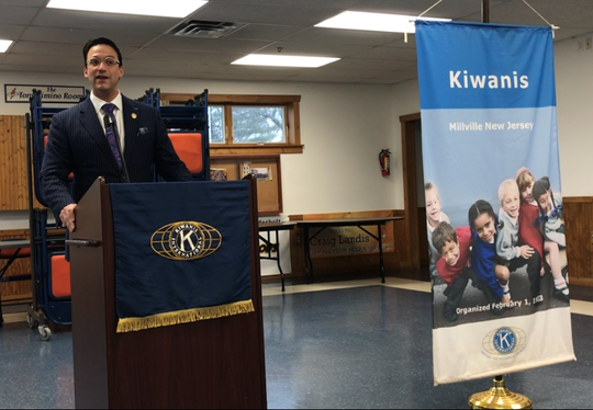 State Sen. Michael Testa Sr., R-1, talked about school vaccination legislation and problems with the 911 system in New Jersey during a speaking engagement Thursday at the Millville Kiwanis.