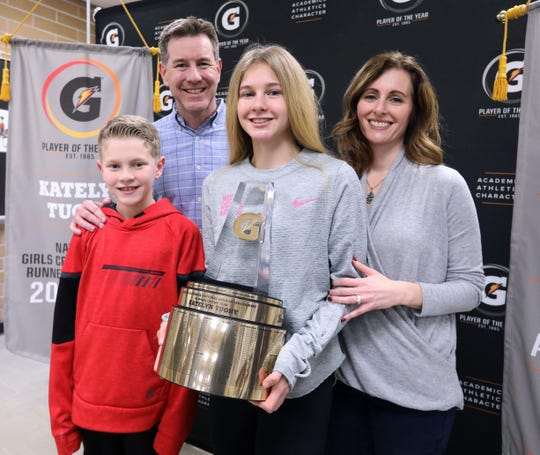 Katelyn Tuohy was surprised at North Rockland High School by a presentation of the trophy for her third straight U.S. national girls cross-country runner of the year award from Gatorade Feb. 6, 2020.