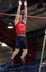Roy C Ketcham's Jason McDonough competes in the Boys Pole Vault during The Section 1 Class A track championships at the Armory in Manhattan Feb. 5, 2020.