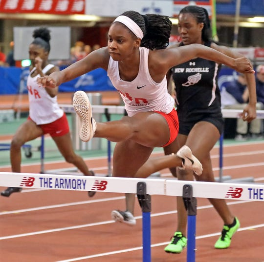 North Rockland's Nadia Saunders, shown here winning the Section 1 Class A girls 55 hurdles in 8.16 Feb. 5, 2020, ran a personal-best 8.03 in that event at the 85th annual Eastern States Indoor Track & Field Championships at The Armory Feb. 18, 2020 to qualify to compete in the Championship Division at New Balance Indoor Nationals.