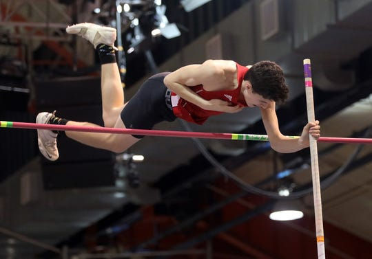 Roy C Ketcham's Charles Hatzmann wins the Boys Pole Vault during The Section 1 Class A track championships at the Armory in Manhattan Feb. 5, 2020.