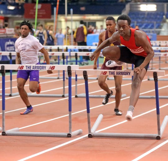 North Rockland's Emanuel Joseph wins Boys 55 Meter Hurdles with the time of 7.42 during The Section 1 Class A track championships at the Armory in Manhattan Feb. 5, 2020.