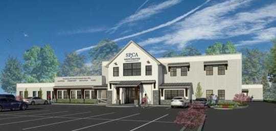A rendering of the SPCA of Westchester's planned new animal shelter and care facility in Briarcliff Manor. The organization said it's raised $8.2 million so far of its $9.1 million goal for the project.