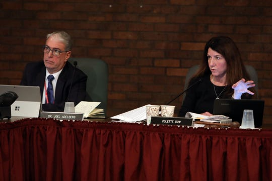 Joel Adelberg, acting superintendent of the Bedford schools, and Board of Education President Colette Dow, at a meeting in January.