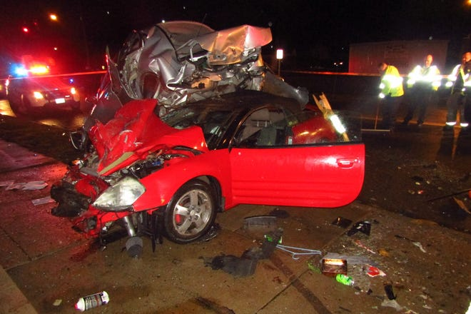 The driver of a 2003 Mitsubishi Eclipse that crashed into three vehicles parked along Linden Avenue just before midnight Wednesday was hospitalized with minor injuries.