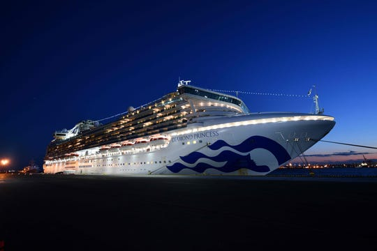 The Diamond Princess cruise ship, with over 3,700 people quarantined onboard due to fears of the new coronavirus, is seen anchored at the Daikoku Pier Cruise Terminal in Yokohama port on February 6, 2020.