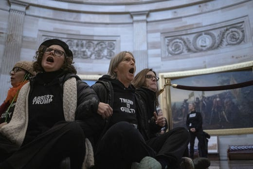 Demonstrators in favor of President Donald Trumps removal of office conduct a protest in the Rotunda of the U.S. Capitol on February 5, 2020 in Washington, DC.