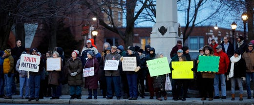 In solidarity with protests nationwide, Berkshire residents gather at Park Square in Pittsfield, Massachusetts to protest the acquittal of US President Donald J. Trump.