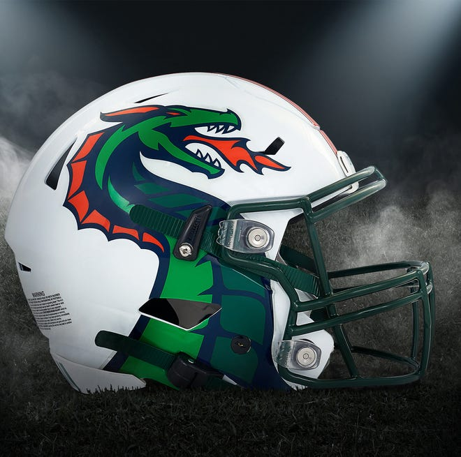 The XFL's new helmet for the Seattle Dragons.