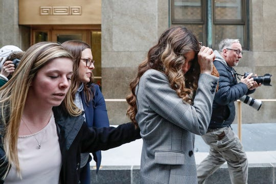Actress/model Lauren Young departs after testifying as an accuser in the sex-crimes trial of Harvey Weinstein, Feb. 5, 2020, in New York. She will continue her testimony on Feb. 6.