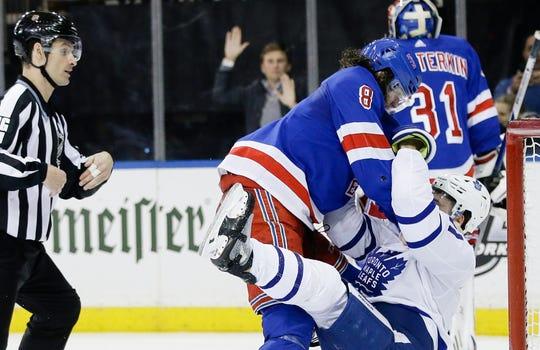 Feb. 5: New York Rangers' Jacob Trouba vs, Toronto Maple Leafs' Zach Hyman