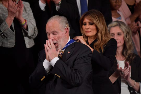Rush Limbaugh receives the Presidential Medal of Freedom from first lady Melania Trump at the State of the Union on Feb.4, 2020