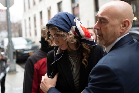 Lauren Young arrives to testify at Harvey Weinstein's sex-crimes trial in New York, Feb. 6, 2020.