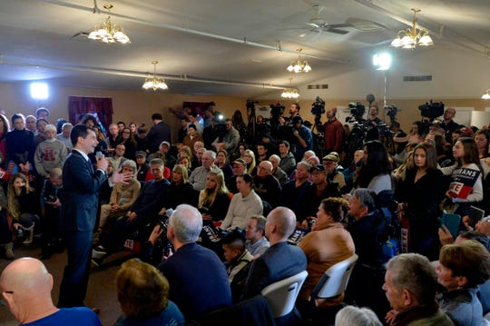 Pete Buttigieg at a town hall event in Merrimack, New Hampshire on Feb. 6, 2020.