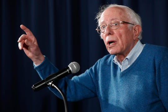 Democratic presidential candidate Sen. Bernie Sanders, I-VT, gestures while speaking during a news conference at his New Hampshire headquarters, Thursday, Feb. 6, 2020 in Manchester, N.H.
