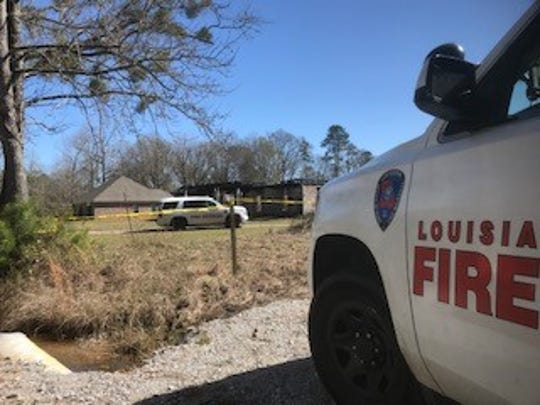 The home on Credeur Road in Pineville where Kayla Giles lived with her husband, Thomas Coutee Jr., before his death was destroyed in an early Friday fire. It remains under investigation.
