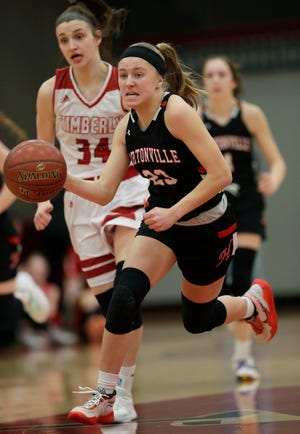 Hortonville's Kamy Peppler (23) brings the ball up court on a break away against Kimberly's Maddy Schreiber (34) during a Feb. 6 game.