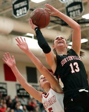 Hortonville's Macy McGlone puts up a shot against Kimberly this season.