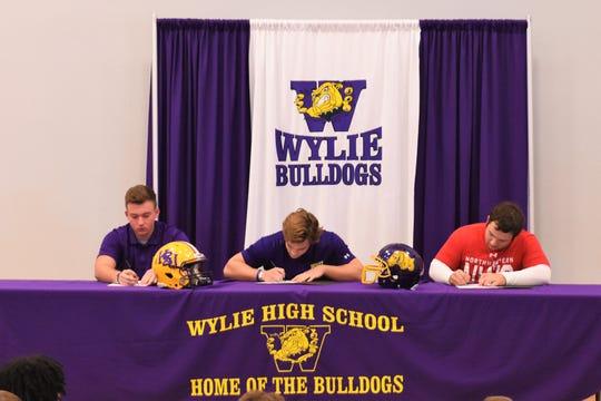 Three Wylie athletes signed to play in college on Friday, Feb. 7, 2020. Austin Green (Hardin-Simmons track), Cason Hanna (Hardin-Simmons football) and Dayton Barnes (Northwestern College football)