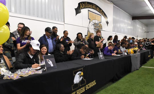 Six Abilene High football players made their college plans official on Friday at a Signing Day ceremony in the field house. Jorge Hernandez, Davonta Mayse, Khalil Spivey, Dylan Wright and Jaxon Smith will continue as teammates at Hardin-Simmons.