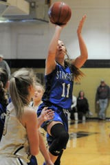 Stamford sophomore Tylee Jo Bevel goes for a shot against Haskell on Feb. 6 at the Teepee in Haskell.