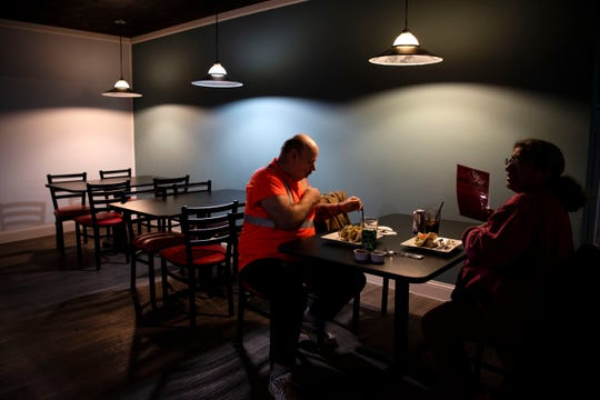 Frank and Juanita French try steak and chicken tacos at the new Gatos Restaurant on Friday, Feb. 7, 2020 in Battle Creek.