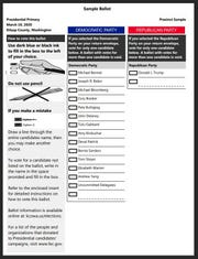 This is what the presidential primary ballot for Washington state will look like.