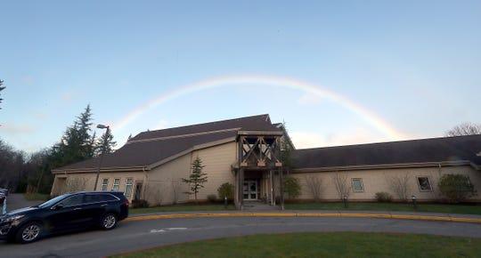 A rainbow can be seen over the Jackson Park Community Center buildings Feb. 7, 2020.