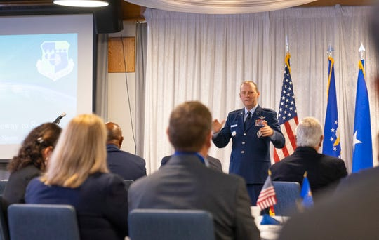 "Brig. Gen. Douglas Schiess, commander of the 45th Space Wing, speaks during the annual ""State of the Installation"" briefing at Patrick Air Force Base on Friday, Feb. 7, 2020."