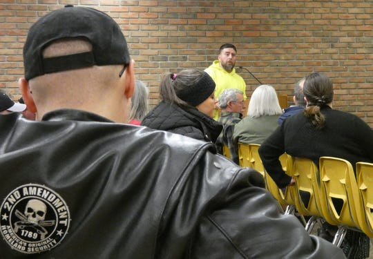 Robert Taylor, who has been a driving force behind the move to have Bucyrus declare itself a Second Amendment sanctuary city, speaks during a meeting of Bucyrus City Council's health and safety committee on Thursday night.