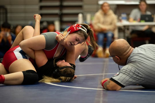 Veterans Memorial's Natalia Villegas vs Victoria East's Hayley Montez during the 15-5A wrestling meet at Ray High School on Thursday, Feb. 6, 2020.