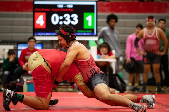 Ray's Chris Perales vs Victoria East's Miguel Rodriguez during the 15-5A wrestling meet at Ray High School on Thursday, Feb. 6, 2020.