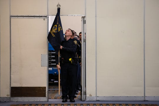 Cadets in the Corpus Christi police academy's 78th class wait for the start of their graduation on Friday, Feb. 7, 2020.