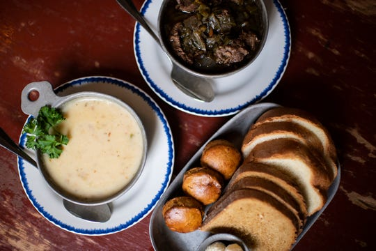 Clam chowder, pepper pot soup and Colonial breads from City Tavern in Philadelphia.