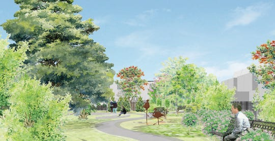 A rendering shows a park that's planned for Cooper Grant in Camden.