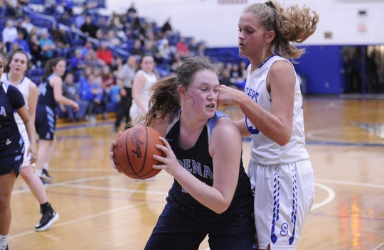 Adena's Sydney Foglesong grabs a rebound during a 43-24 loss to Southeastern on Thursday, Feb. 6, 2020 at Southeastern High School in Chillicothe, Ohio.