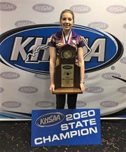 Campbell County's Kaylee Hitt, a three-time regional champion, with the state title trophy, Feb. 7, 2020.