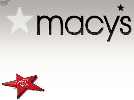 February 7, 2020: Kevin Necessary's editorial cartoon on Macy's headquarters leaving Cincinnati.