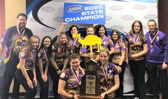 Campbell County High School girls bowling team with their state championship, Feb. 7, 2020.