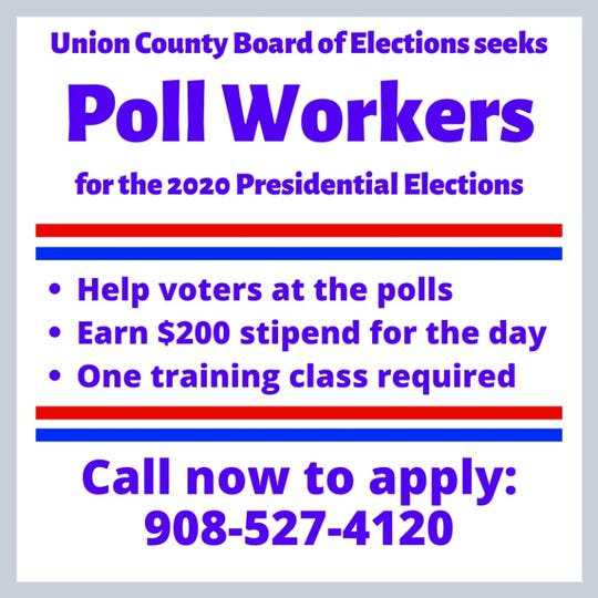 Union County residents seeking an opportunity to help during the 2020 Presidential election cycle can apply to become poll workers this year.