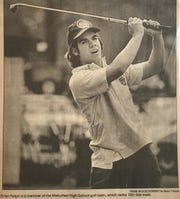 Brian Ralph in a Home News Tribune archival photo playing golf for Metuchen High School.